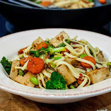 Teriyaki Tofu and Edamame Stir Fry with Noodles