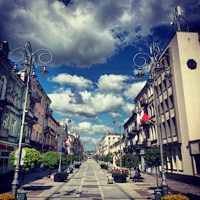 Main street by Jakub Juszyński - Instagram & Mobile Android ( sky, afternoon, street, cloudy, kielce, poland )
