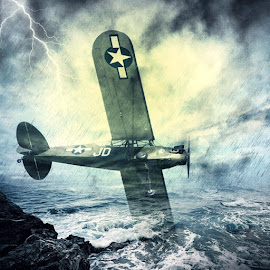 Stormy flight by Adria Bannocks - Digital Art Things ( flight, lightening, landing, aeroplane, digital art, landscape, storm, crash, war )