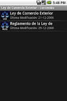 Screenshot of Ley de Comercio Exterior