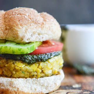 Bean Burgers with Grilled Corn, Pesto + Heirloom Tomatoes