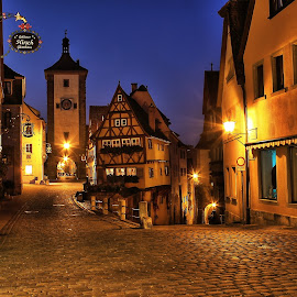 Night in Rothenberg by Benjamin Boynton - City,  Street & Park  Historic Districts ( half timbered, watch tower, rothernburg, germany, medieval, rothenberg )