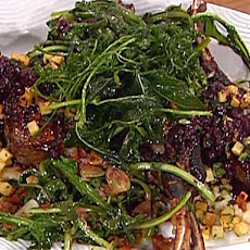 Garlic-Braised Dandelion Greens with White Bean Puree and Crispy Pancetta