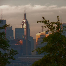 NYC Riseing Sun by Richard Thomas - City,  Street & Park  Skylines ( skyline, sunset, sunrise, nyc, scapes, Urban, City, Lifestyle )