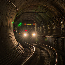Pittsburgh subway by Aaron Apitzsch - Transportation Trains ( lowlight, subway, pittsburgh, train, tracks )