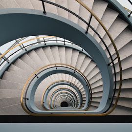 staircase by Louis Heylen - Buildings & Architecture Office Buildings & Hotels ( stairs, celar, blue, going down, white )