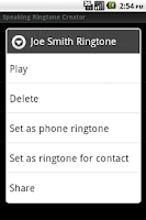 Screenshot of Speaking Ringtone Creator