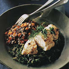 Broiled Chicken Over Braised Porcini and Savoy Cabbage