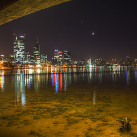 by Matty Gott - City,  Street & Park  Skylines ( water, perth, swan river, night, moonlight,  )