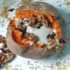 Roasted Whole Sweet Potatoes With Maple Ginger Topping