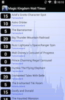 Screenshot of Disney World Wait Times