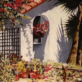 Palm Shadows by Jennifer Wheatley-Wolf - Painting All Painting ( watercolor, jennifer wheatley-wolf, colorful, palm trees, garden )