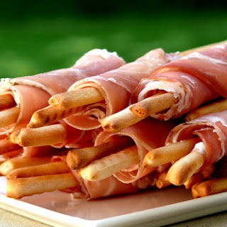 Cheesy Prosciutto Wrapped Breadsticks