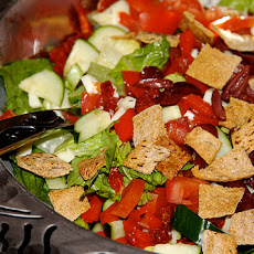 Chopped Salad with Feta, Chickpeas and Pita Croutons