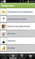 Screenshot of Voedingwaardetabel