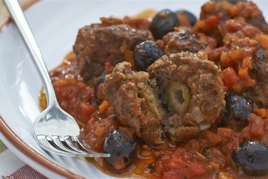 Olive-stuffed Beef Meatballs With Tomato And Olive Sauce Recipe ...