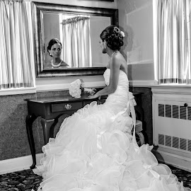A moment alone by Rob Ebersole - Wedding Getting Ready ( dress, wedding, ceremony, bride, black )