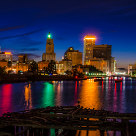 Providence RI by Stephen Nisbett Jr. - City,  Street & Park  Skylines ( night, city )