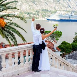 Greetings by Maxim Malevich - Wedding Bride & Groom ( holiday, pair, ship, wedding, landscape, bride, groom, Wedding, Weddings, Marriage )