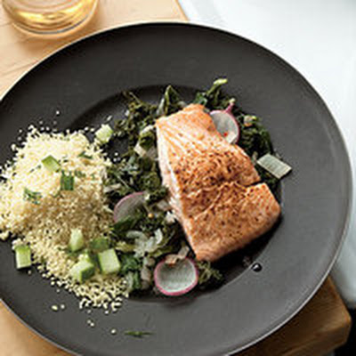 Salmon Fillets with Dill Couscous and Spicy Kale