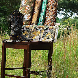 Fabric, Boot, and Chair by Marilyn Bass - Artistic Objects Furniture ( chair, boot, arkansas photographer, wooden chair, bolt of fabric, fabric, cowboy boot, arkansas, Chair, Chairs, Sitting )