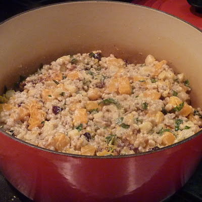 Barley Pilaf with Butternut Squash, Apples, Pears and Calvados Goat Cheese Cream Sauce