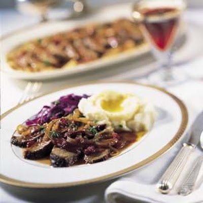 Beef Brisket with Caramelized Onions and Merlot Sauce