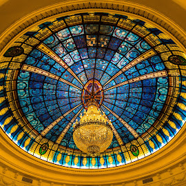 The glass ceiling by Mike O'Connor - Buildings & Architecture Architectural Detail ( opulent, madrid, gran melia fenix, hotel, chandolier )