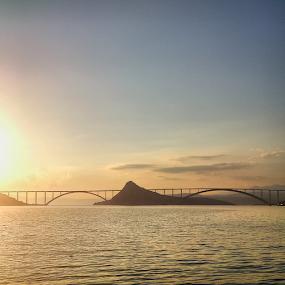 Bridge over sea by Oliver Švob - Instagram & Mobile Android ( instagram, adriatic, croatia, sea, island krk, travel, adriatic sea, island, sony, sony xperia, adriatc coast, bridge, construction, mobile, , Lighting, moods, mood lighting )