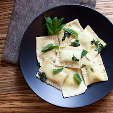 Fresh Pea & Ricotta Ravioli with Lemon Brown Butter
