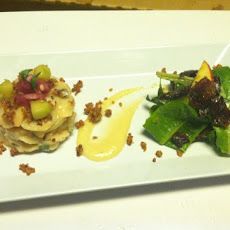 Scallop Ceviche, Fall Apple, Candied Bacon