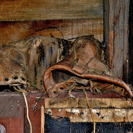 Worn Out by Erin Czech - Artistic Objects Clothing & Accessories ( shed, worn, leather, boots, abandoned )