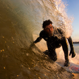 Jesse in a mini barrel by Dave Nilsen - Sports & Fitness Surfing