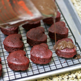 Red Velvet Chocolate Drenched Heartcakes