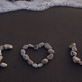 I Love You by Susan Fries - Artistic Objects Signs ( love, coral, wave, beach, stones,  )