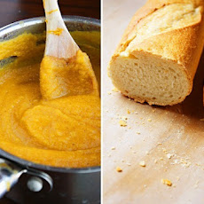 Acorn Squash Soup with Swiss Crostini