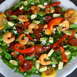 Chorizo And Prawn Salad With Avocado And Feta