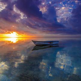 Lonely Boat by Wayan Sujana - Transportation Boats ( canon, bali, sanur, sunrise, beach, transportation, boat, landscape )