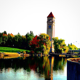 Spokane clock tower by Joe Thola - Instagram & Mobile Instagram ( #clocktower #spokane #river #waterview #beautifulmorning #fallcolors )