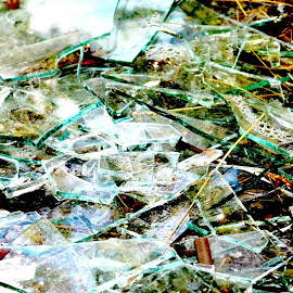 Broken Glass or Ice? by Stephen Fletcher - Abstract Macro ( abstract, macro, green, ice, glass )
