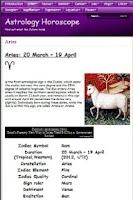 Screenshot of Astrology Horoscope