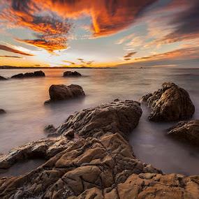 Prehistoric Sunset by Steve Badger - Landscapes Waterscapes ( waterscape, sunset, australia, kirra, beach,  )