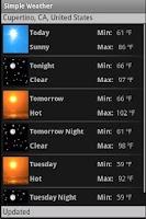 Screenshot of Simple Weather