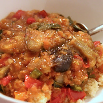 Eggplant and Lentil Stew with Pomegranate Molasses