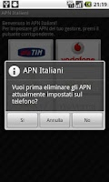 Screenshot of APN Italy