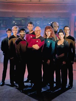 Wesley, Tasha, LaForge, Riker, Picard, Crusher, Worf, Troi, Data