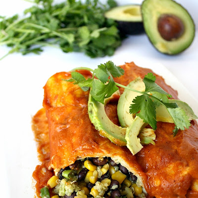 Black Bean Avocado Enchiladas