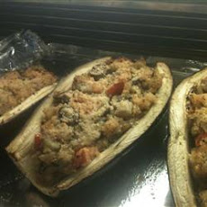 Stuffed Eggplant with Shrimp and Basil