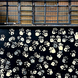 Let me in. by Martha van der Westhuizen - Instagram & Mobile iPhone ( abstract, wall art, street art, design, handprints )