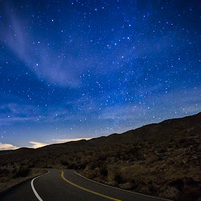 by Clifford Swall - Landscapes Starscapes ( winding road, milk way, stars, nighttime, road, landscape, galaxy )